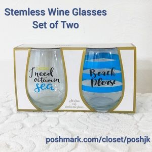 NEW IN BOX Stemless Wine Glasses Set of Two Beach